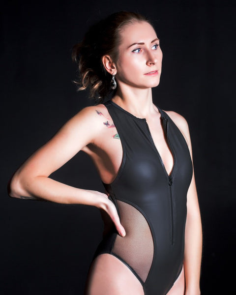 Sexy Mesh Padded Hallow Out Neoprene Monokini Swimsuit - Lizachic