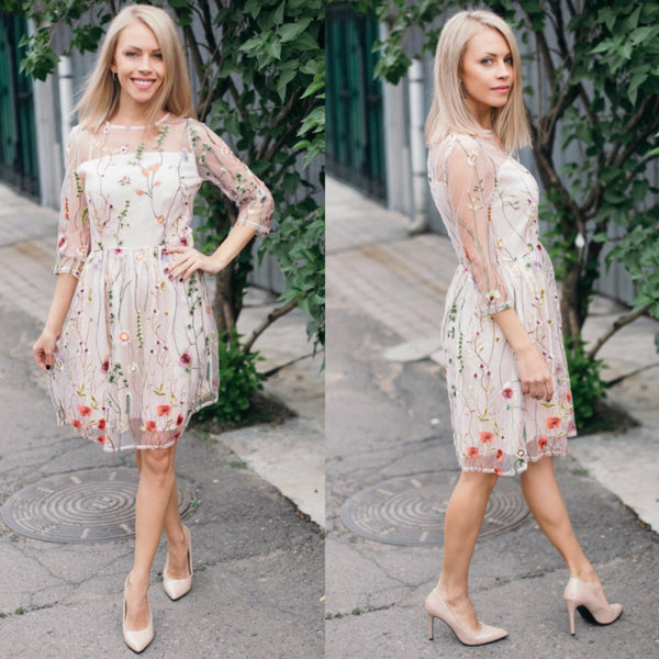 Sexy Floral Embroidery Three Quarter Chic Mini Dress - Lizachic