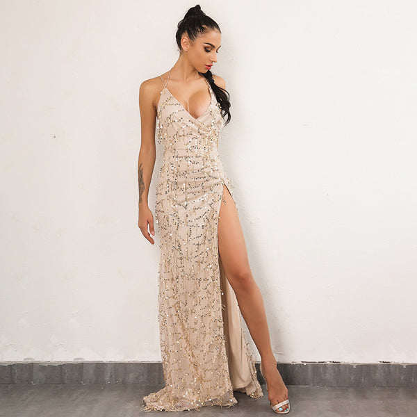 Sexy Gold Sequined Backless Maxi Dress - Lizachic