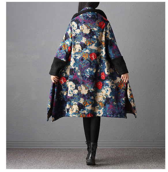 Vintage Women s Floral Print Pocket Button Long Sleeve Parkas Coat Winter Cotton Fleece Thick Warm Loose Lapel Long Jacket Tops - Lizachic
