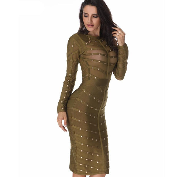 Wholesale 2018 New Sexy Women Dress Mesh Studded Button Olive Red Black High Neck Bodycon Dress Celebrity Party Bandage Dresses