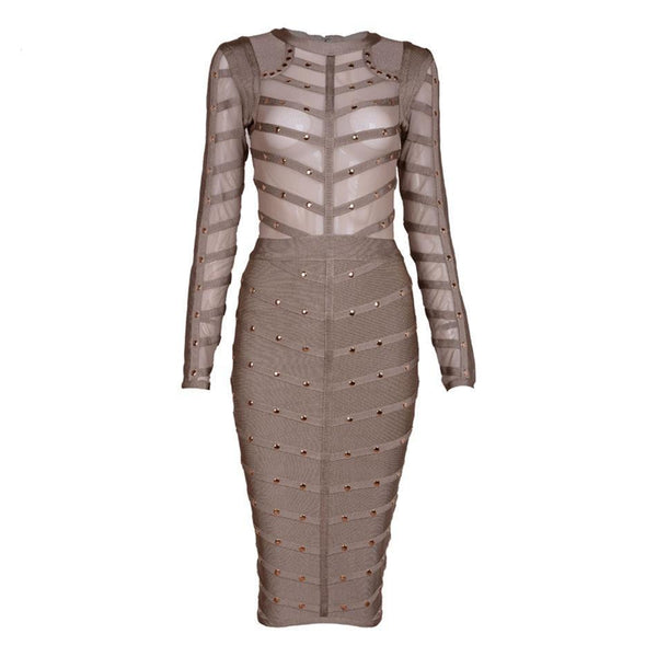 Martina Sexy Studded Button Bodycon Bandage Party Dress - Lizachic