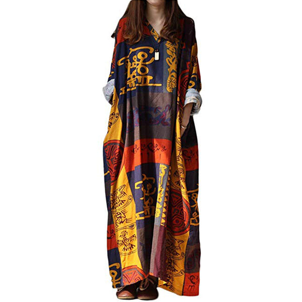 Women Long Maxi Dress Ethnic Vestidos Plus Size Cotton Roupas Geometric Retro Dress Fluid Print Large Size Full Dress 2 Patterns - Lizachic