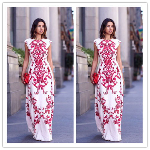 Sexy Floral Print Boho O-Neck Sleeveless Maxi Comfortable Dress - Lizachic