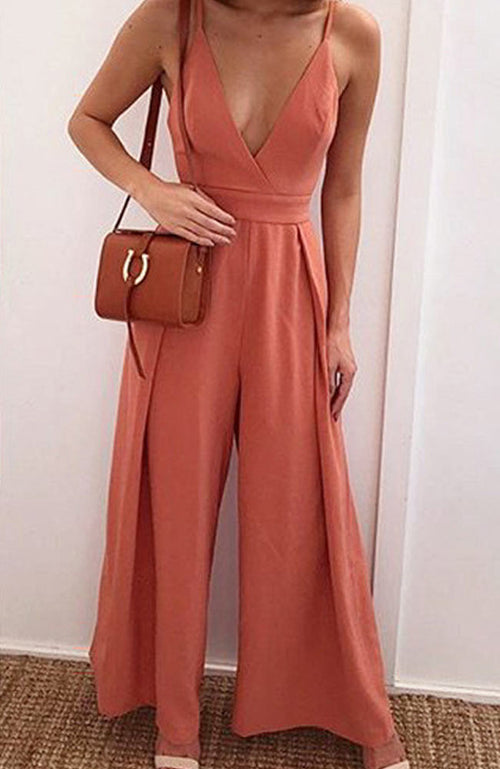 Causal backless V Neck Back Bow Jumpsuit - Lizachic