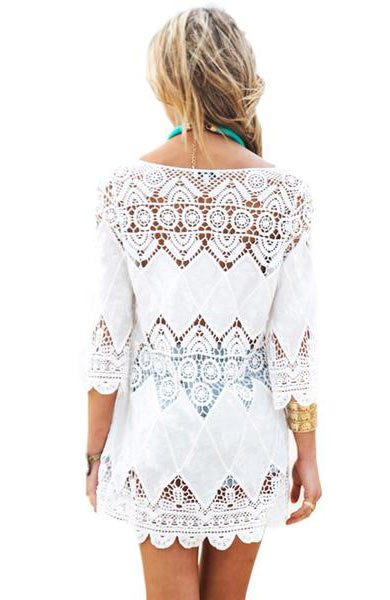 Sexy New Lace Hollow Cover Up One Size Dress - Lizachic