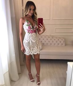 Sexy White Lace Elegant Embroidered Bodycon Tunic Overlay Mini Dress - Lizachic