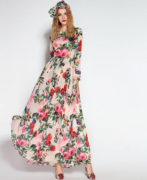 Long Sleeve Sequined Beading Rose Floral Bird Printed Long Dress - Lizachic