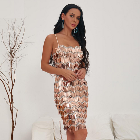 Monica Gold Sequin Sexy Backless Xmas Dress