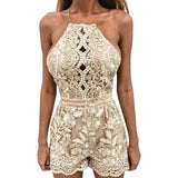 Sexy Hollow Out Floral Embroidery Short Casual Mesh Lace Off Shoulder Playsuit - Lizachic