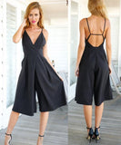 Elegant Spaghetti Straps Backless Sleeveless Short Jumpsuit - Lizachic