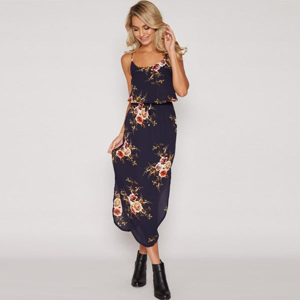 Sexy Bohemian Backless Sleeveless Side Split Slim Floral Mid Calf Dress - Lizachic