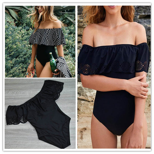 Sexy Raffled Off Shoulder Edge Cut Monokini - Lizachic