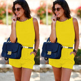 Sweet Chiffon Casual Sexy Backless Shorts Sleeveless Playsuit - Lizachic