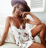 Summer Boho Spaghetti Strap V-neck Tassel Backless Floral Print  Dress - Lizachic