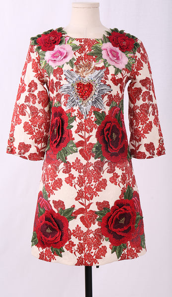 Designer Elegant Party Beading Floral Flower Appliques Vintage Dress - Lizachic