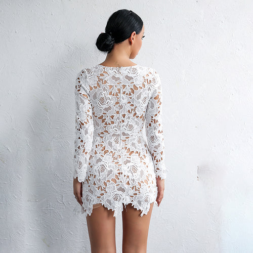 Sexy Lace Hollow Out Long Sleeve Deep V Neck Elegant Mini Dress - Lizachic