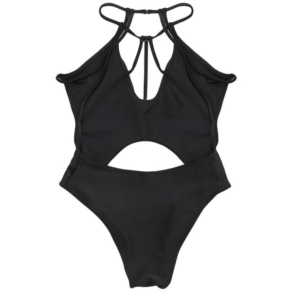 Low Waist Solid Strappy Cut Out Push Up Monokini - Lizachic