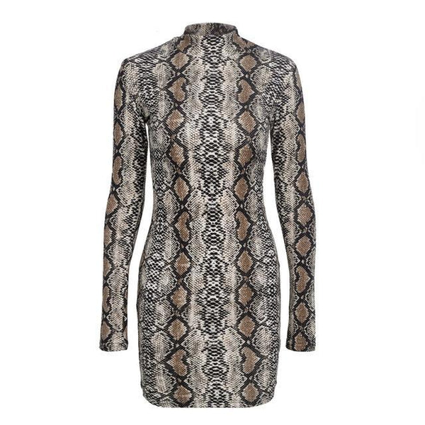 Sexy Slim Snake Printed Turtleneck Long Sleeve Mini Dress - Lizachic