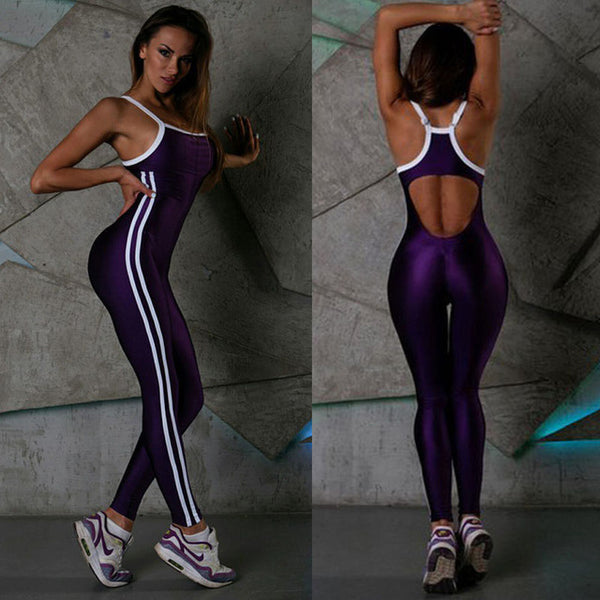 Double Side Stripe Lines Halter Fitness Stretch Jumpsuit - Lizachic