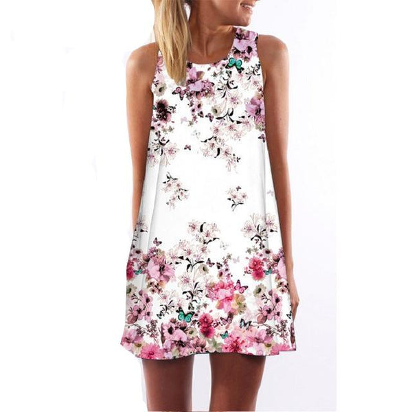 Sleeveless Print Casual Short Dress - Lizachic