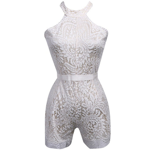 Sexy Halter Elegant Lace Flower Sleeveless Bow Tie Shorts Playsuit - Lizachic