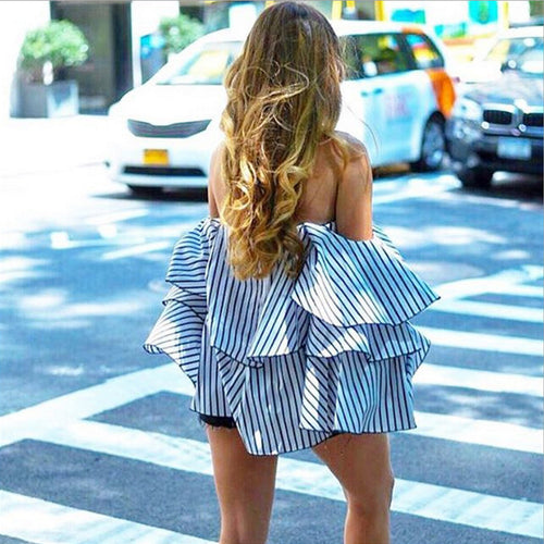 Sexy Off Shoulder Backless Striped Ruffle Blouse - Lizachic