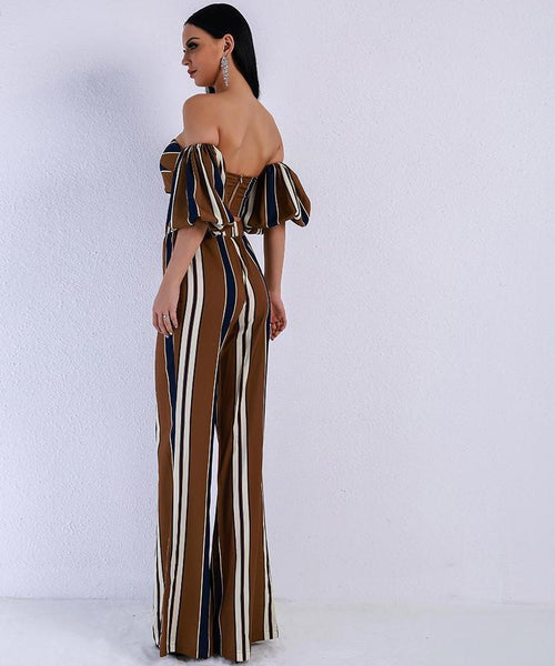 Elegant  Striped Off Shoulder Puff Sleeve Jumpsuit - Lizachic