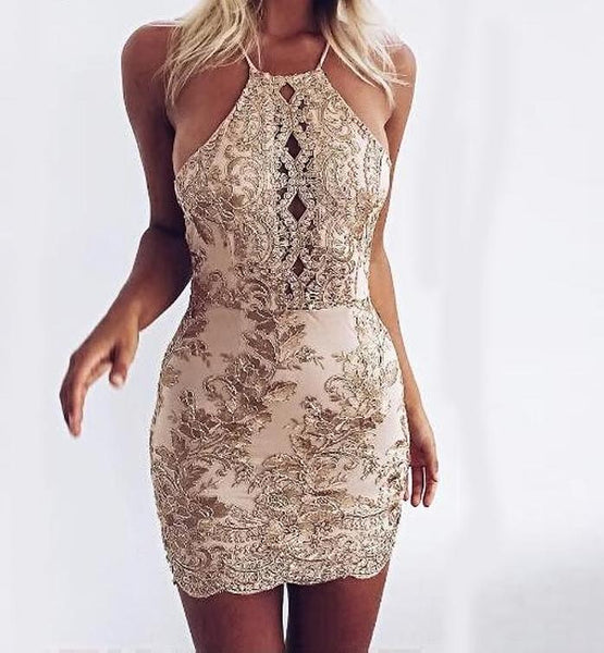 Sexy Cross Bandage Off Shoulder Halter Dress - Lizachic