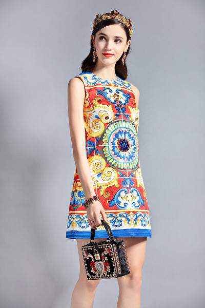 Fashion Runway Designer Sleeveless Sequin Crystal Beading Elegant Mini Short Dress - Lizachic