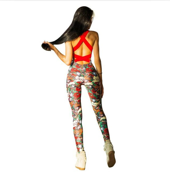 Sexy Floral Backless Padded Fitness Sport Wear - Lizachic