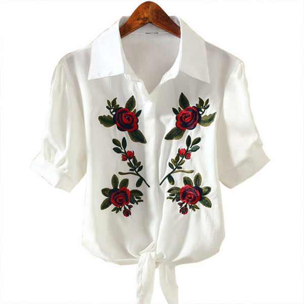 Elegant New Style Flower Embroidery Short Sleeve  Blouse - Lizachic