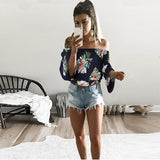 Sexy Tees Print Bohemian Slash Neck Blouse - Lizachic