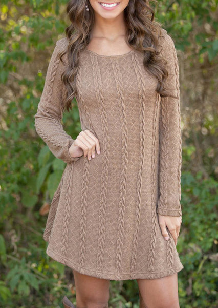 Sweet Causal Long Sleeve Loose knitted Mini Dress - Lizachic
