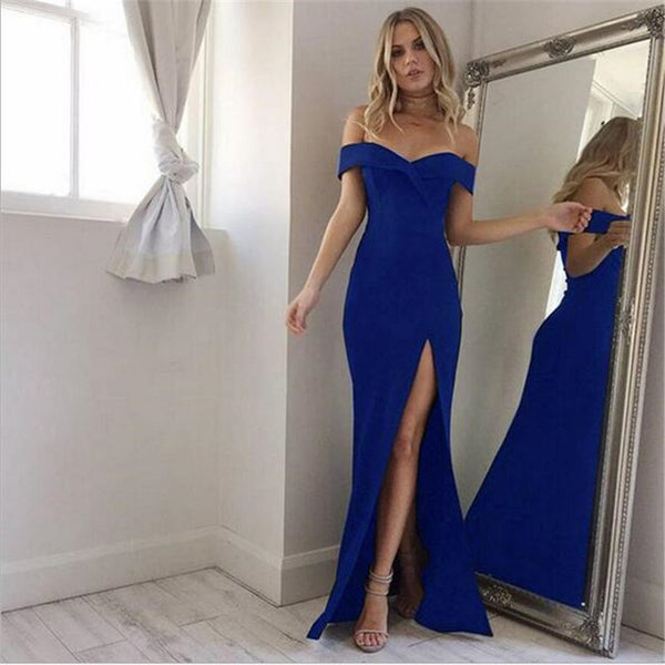 Sexy Split Off Shoulder Slash Neck long Dress - Lizachic