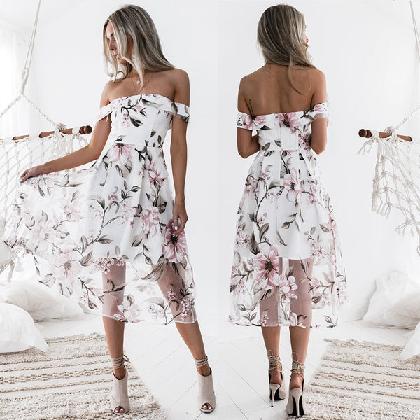 Elegant Temperament Floral Printed Off Shoulder Sexy Dress - Lizachic