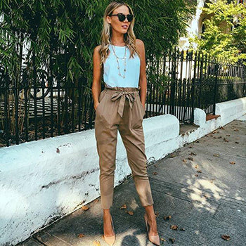 Chiffon High Elastic Bow Tie Waist Casual Ankle Length Pants - Lizachic