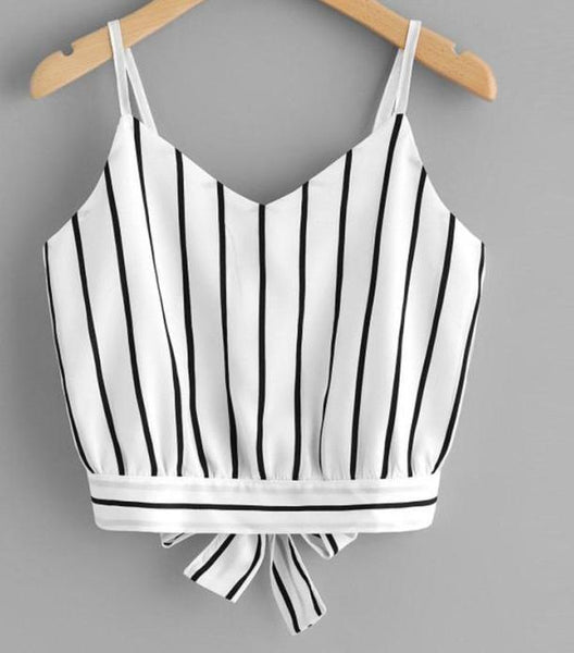 Sexy Women Crop Top Striped Tie Back Bow - Lizachic