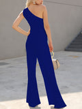 Elegant One Shoulder Cutout Tie Waist Wide Leg Jumpsuit - Lizachic
