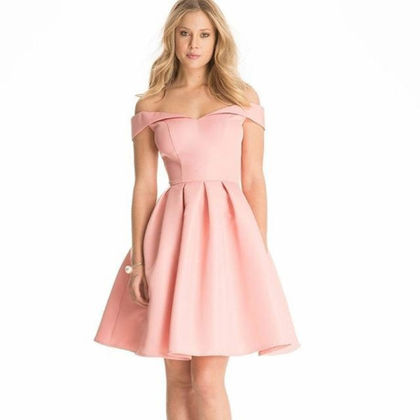 Elegant Sexy Off Shoulder Mini A-Line Dress - Lizachic