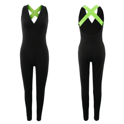Sexy U-Neck Backless Stripes Closed-Fitting Sport Wear Suit - Lizachic