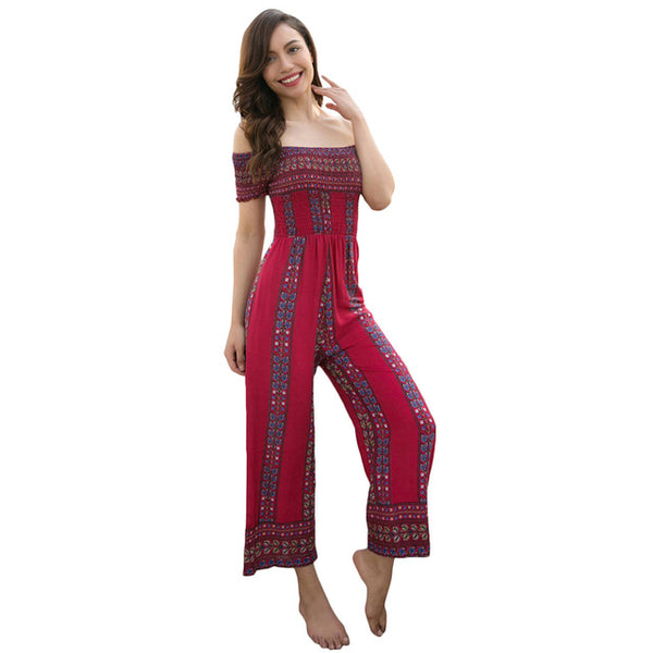 Floral Wide Legs Bohemian Off Shoulder High Waist Strapless Jumpsuit - Lizachic