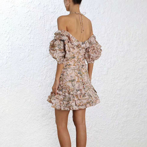 Sexy Floral Ruffle Elegant Short Sleeve Sheath Slim Fit Mini Dress - Lizachic