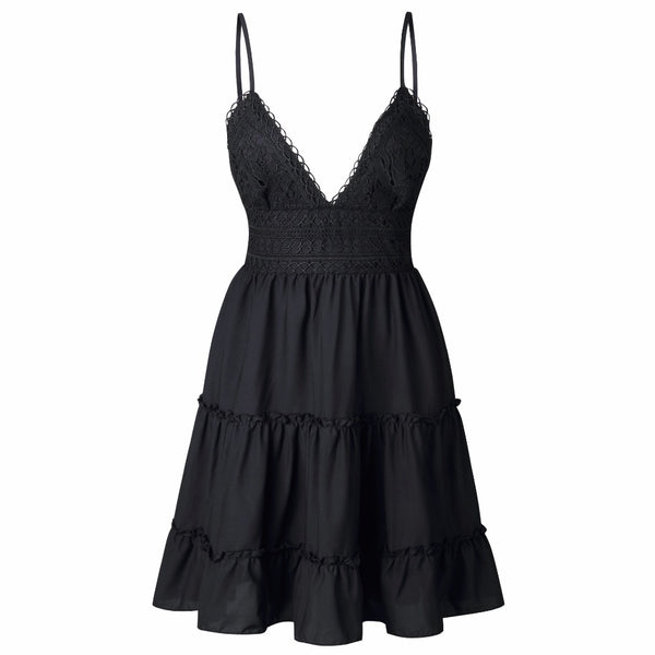 Sexy Sleeveless Deep V-Neck Strap Lace Backless Mini Dress - Lizachic