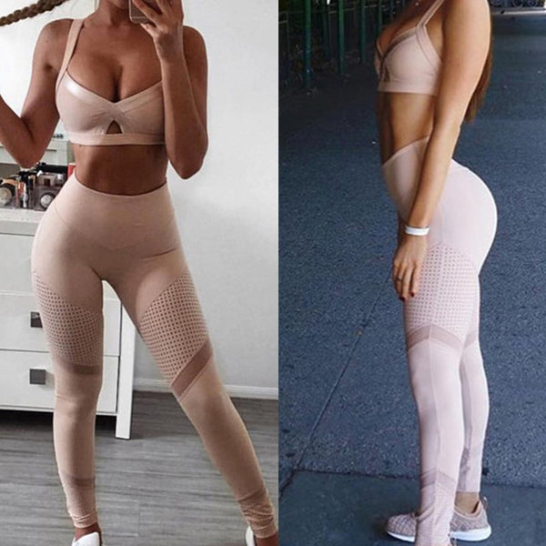 Pink Breathable Mesh Patchwork V-neck Bras Sports Suit - Lizachic
