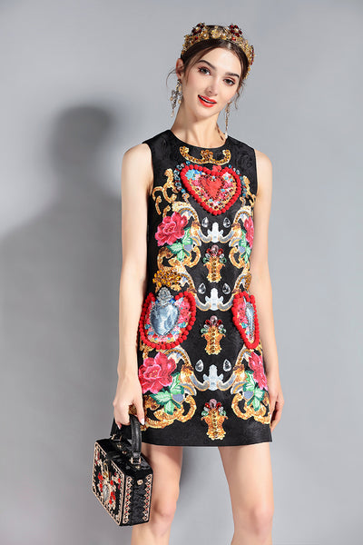 Elegant O-Neck Sleeveless Luxury Crystal Beading Vintage Short Dress - Lizachic
