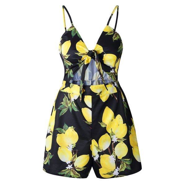Floral Off Shoulder Sleeveless Hollow Out Bow Shorts Playsuit - Lizachic