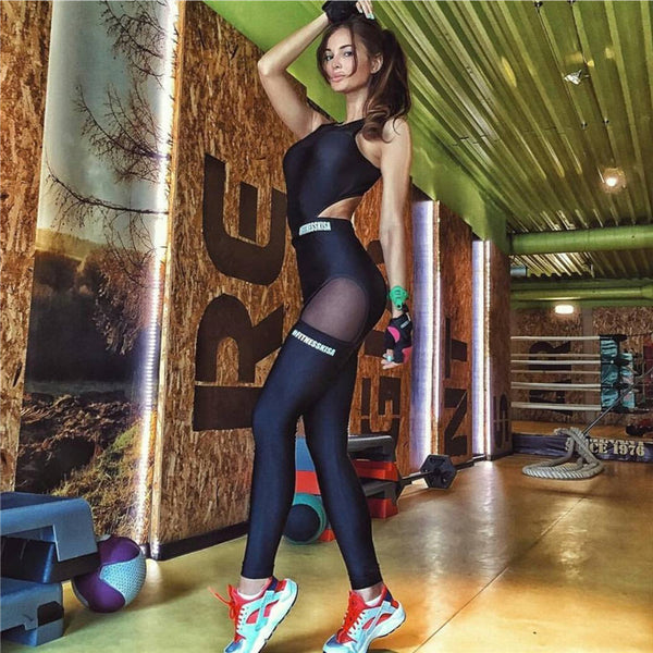 Sexy Women Gym Fitness Quick Drying Elastic Fitness Tights Tight Sports Yoga Set Jumpsuit - Lizachic