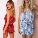 Floral Loose Off Shoulder Sleeveless Beachwear Leotard Shorts Romper Playsuit - Lizachic