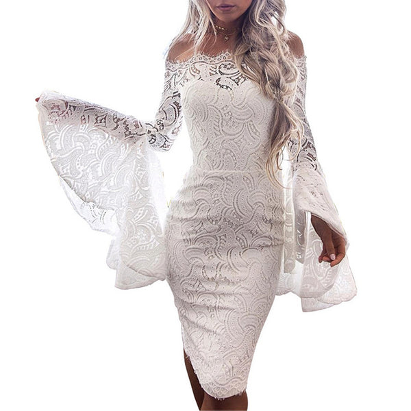 Women Vintage Empire Sheath Lace Hollow Out Slash Neck Full Sleeve Knee-Length Dress - Lizachic